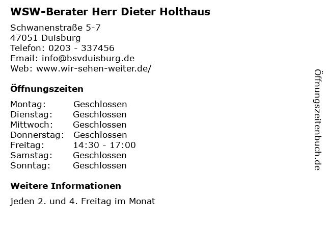 WSW-Berater Herr Dieter Holthaus in Duisburg: Adresse und Öffnungszeiten