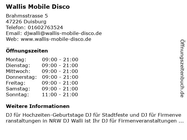 ᐅ Offnungszeiten Wallis Mobile Disco Brahmsstrasse 5 In