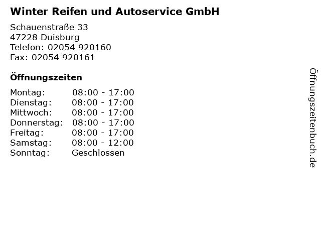 Winter Reifen und Autoservice GmbH in Duisburg: Adresse und Öffnungszeiten
