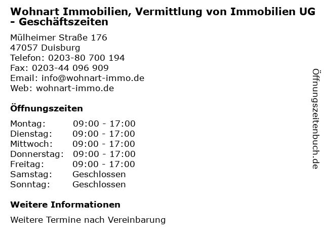 Wohnart Immobilien, Vermittlung von Immobilien UG - Geschäftszeiten in Duisburg: Adresse und Öffnungszeiten