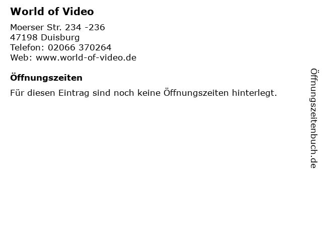World of Video in Duisburg: Adresse und Öffnungszeiten