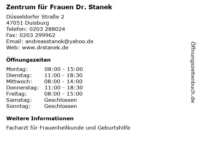 Zentrum für Frauen Dr. Stanek in Duisburg: Adresse und Öffnungszeiten