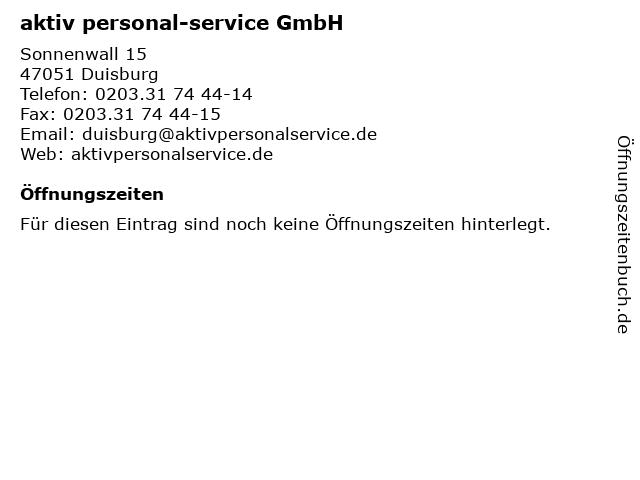 aktiv personal-service GmbH in Duisburg: Adresse und Öffnungszeiten