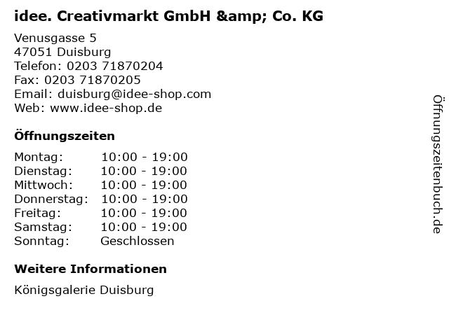 idee. Creativmarkt GmbH & Co. KG in Duisburg: Adresse und Öffnungszeiten