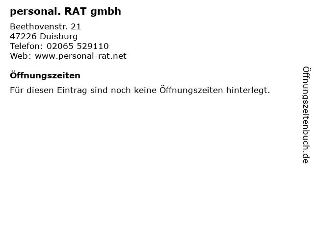 personal. RAT gmbh in Duisburg: Adresse und Öffnungszeiten