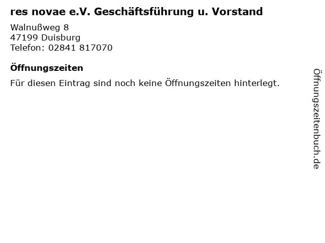 res novae e.V. Geschäftsführung u. Vorstand in Duisburg: Adresse und Öffnungszeiten