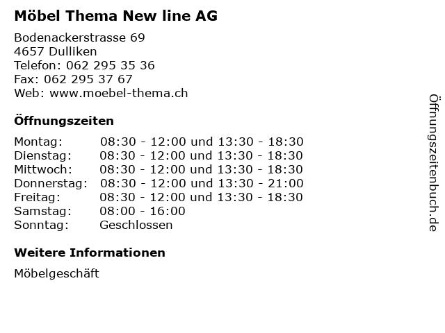 Möbel Thema New line AG in Dulliken: Adresse und Öffnungszeiten