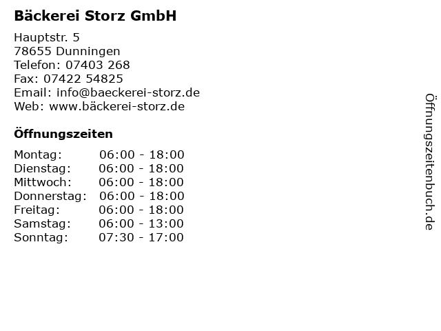 Bäckerei Storz GmbH in Dunningen: Adresse und Öffnungszeiten