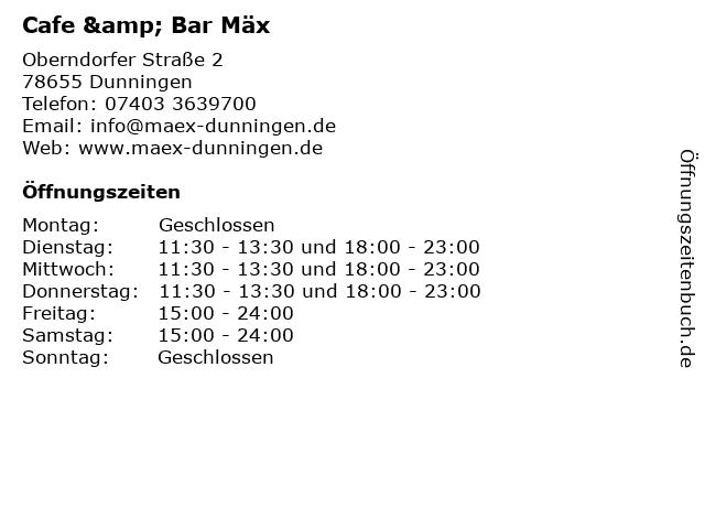 Cafe & Bar Mäx in Dunningen: Adresse und Öffnungszeiten