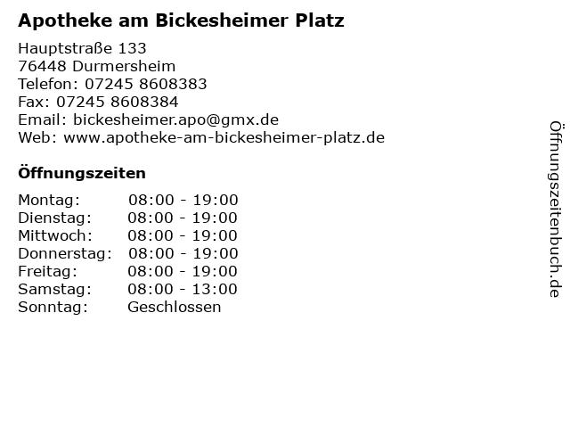 Apotheke am Bickesheimer Platz in Durmersheim: Adresse und Öffnungszeiten