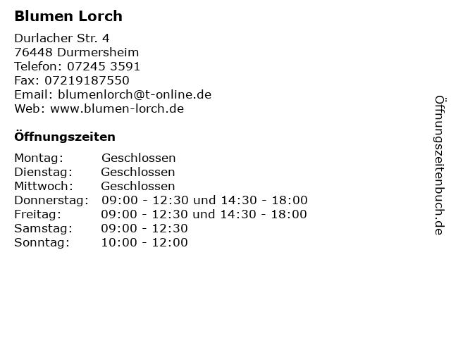 Blumen Lorch in Durmersheim: Adresse und Öffnungszeiten