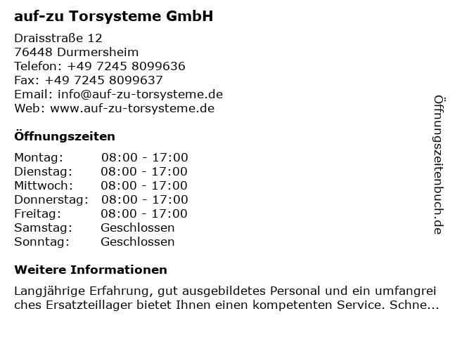auf-zu Torsysteme GmbH in Durmersheim: Adresse und Öffnungszeiten
