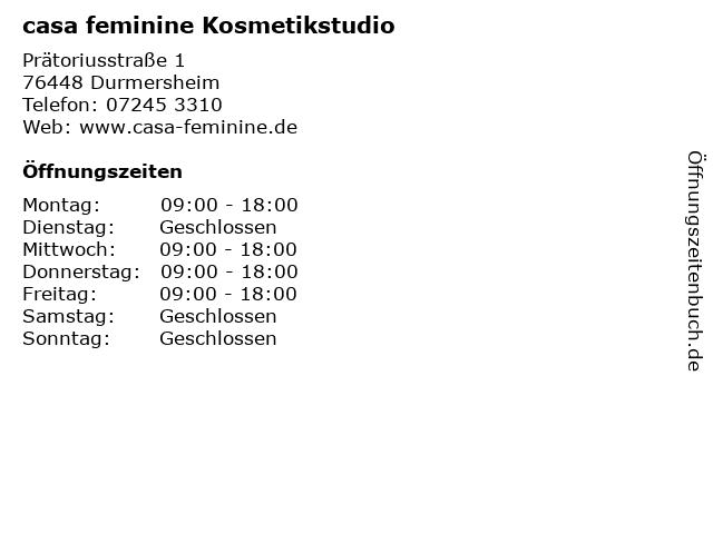 casa feminine Kosmetikstudio in Durmersheim: Adresse und Öffnungszeiten