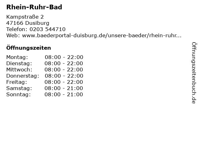 Rhein-Ruhr-Bad in Dusiburg: Adresse und Öffnungszeiten