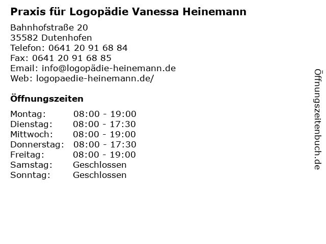 Praxis für Logopädie Vanessa Heinemann in Dutenhofen: Adresse und Öffnungszeiten