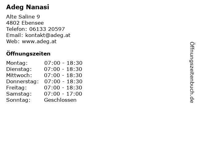 Adeg Nanasi in Ebensee: Adresse und Öffnungszeiten