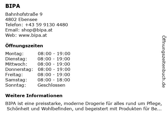 BIPA in Ebensee: Adresse und Öffnungszeiten