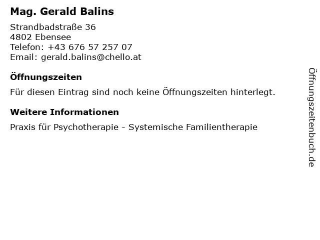 Mag. Gerald Balins in Ebensee: Adresse und Öffnungszeiten