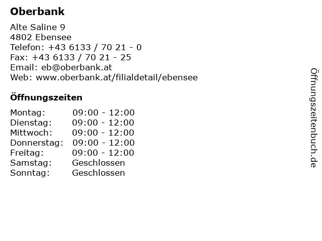 Oberbank in Ebensee: Adresse und Öffnungszeiten