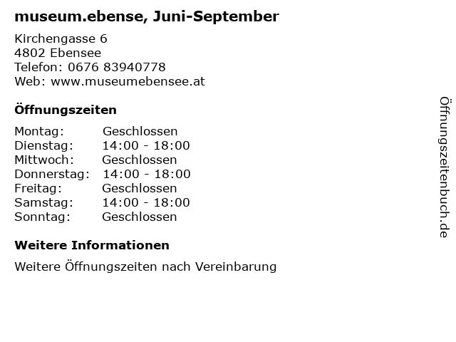 museum.ebense, Juni-September in Ebensee: Adresse und Öffnungszeiten
