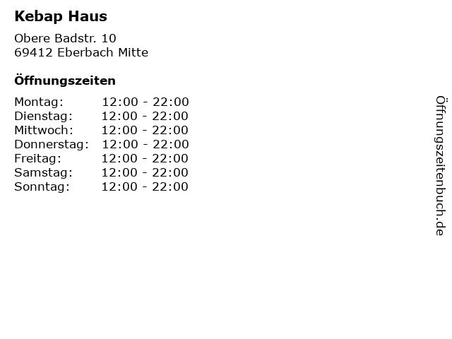 Kebap Haus in Eberbach Mitte: Adresse und Öffnungszeiten