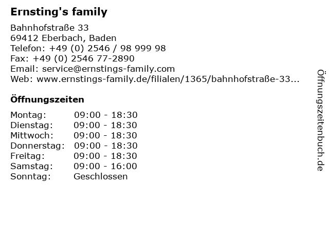 Ernsting's family in Eberbach, Baden: Adresse und Öffnungszeiten