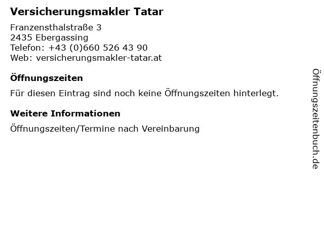 Versicherungsmakler Tatar in Ebergassing: Adresse und Öffnungszeiten