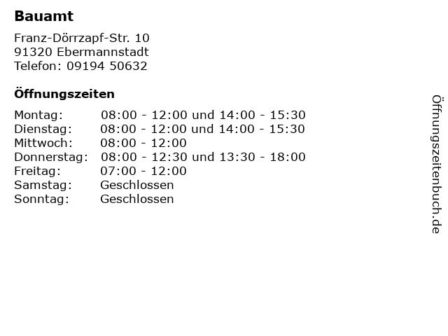 Bauamt in Ebermannstadt: Adresse und Öffnungszeiten