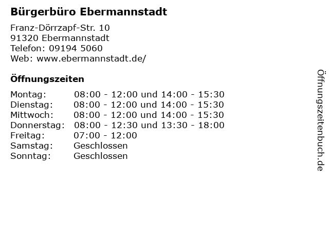 Bürgerbüro Ebermannstadt in Ebermannstadt: Adresse und Öffnungszeiten