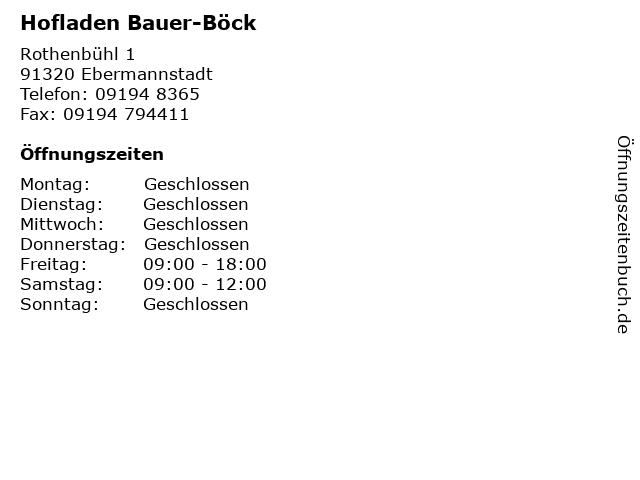 Hofladen Bauer-Böck in Ebermannstadt: Adresse und Öffnungszeiten