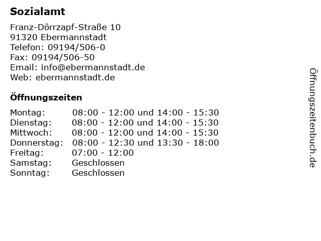 Sozialamt in Ebermannstadt: Adresse und Öffnungszeiten