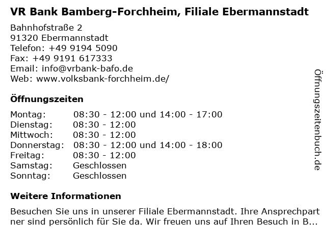 Volksbank Forchheim, Filiale Ebermannstadt in Ebermannstadt: Adresse und Öffnungszeiten
