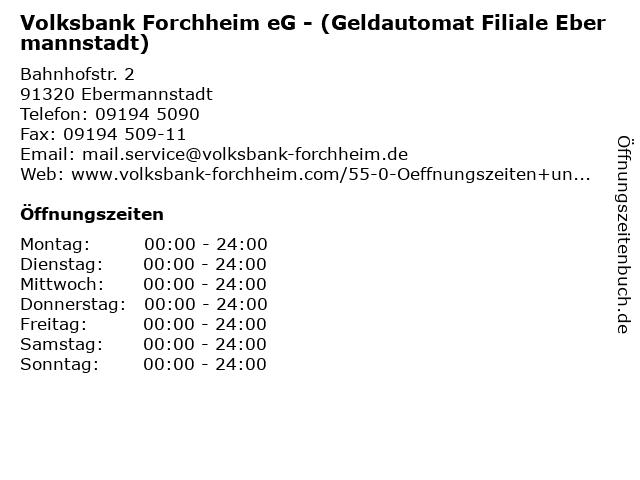 Volksbank Forchheim eG - (Geldautomat Filiale Ebermannstadt) in Ebermannstadt: Adresse und Öffnungszeiten