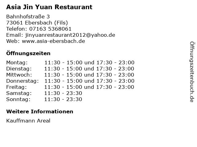 Asia Jin Yuan Restaurant in Ebersbach (Fils): Adresse und Öffnungszeiten