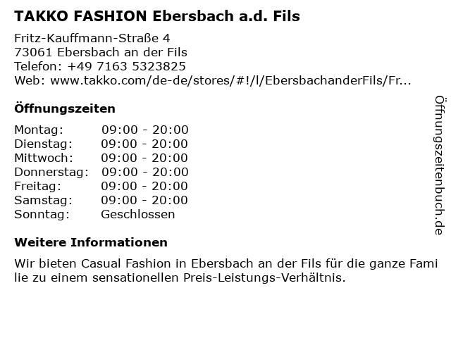 Takko Fashion in Ebersbach (Fils): Adresse und Öffnungszeiten