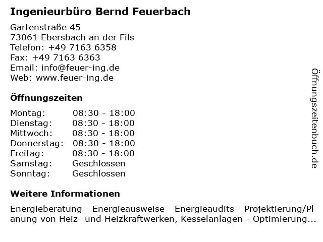 Ingenieurbüro Bernd Feuerbach in Ebersbach an der Fils: Adresse und Öffnungszeiten