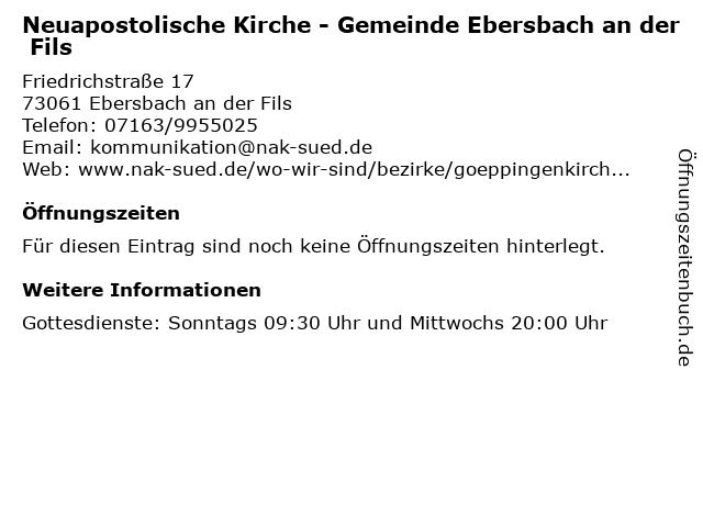 Neuapostolische Kirche - Gemeinde Ebersbach an der Fils in Ebersbach an der Fils: Adresse und Öffnungszeiten