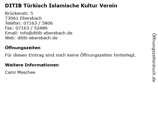 DITIB Türkisch Islamische Kultur Verein in Ebersbach: Adresse und Öffnungszeiten