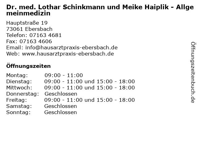 Dr. med. Lothar Schinkmann und Meike Haiplik - Allgemeinmedizin in Ebersbach: Adresse und Öffnungszeiten