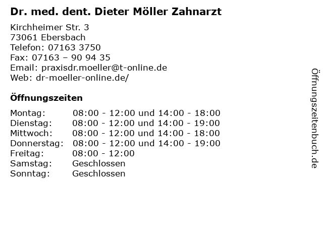 Dr. med. dent. Dieter Möller Zahnarzt in Ebersbach: Adresse und Öffnungszeiten