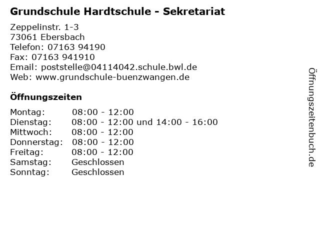 Grundschule Hardtschule - Sekretariat in Ebersbach: Adresse und Öffnungszeiten