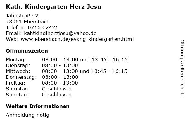 Kath. Kindergarten Herz Jesu in Ebersbach: Adresse und Öffnungszeiten