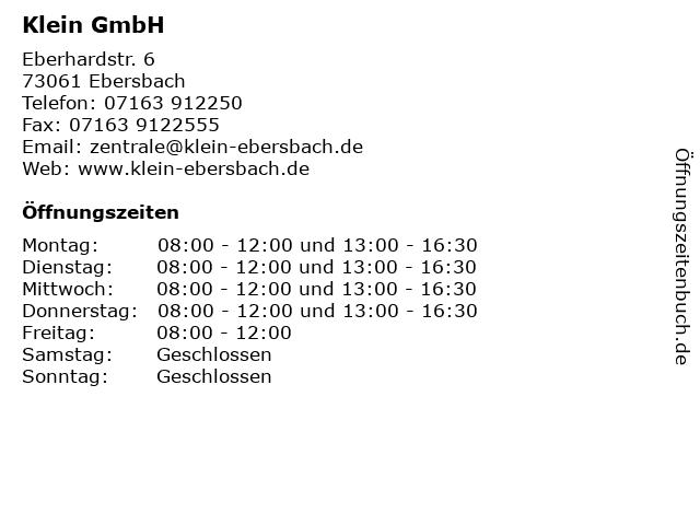 Klein GmbH in Ebersbach: Adresse und Öffnungszeiten