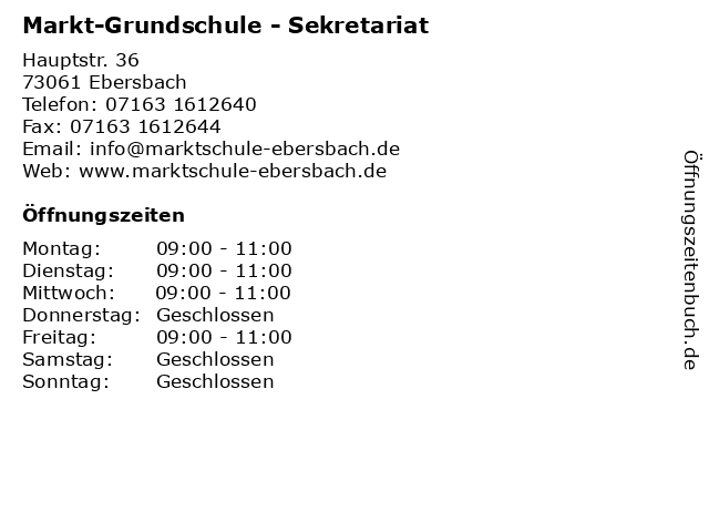 Markt-Grundschule - Sekretariat in Ebersbach: Adresse und Öffnungszeiten