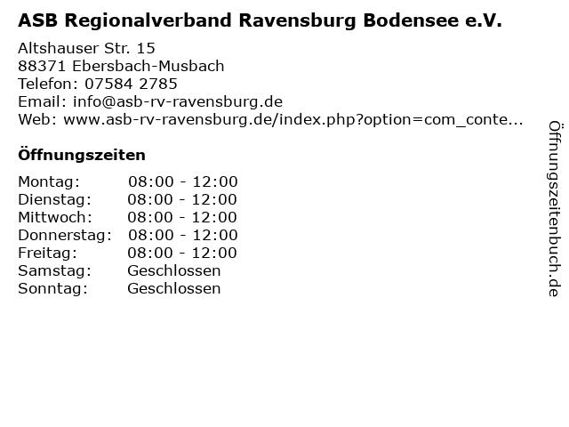 ASB Regionalverband Ravensburg Bodensee e.V. in Ebersbach-Musbach: Adresse und Öffnungszeiten