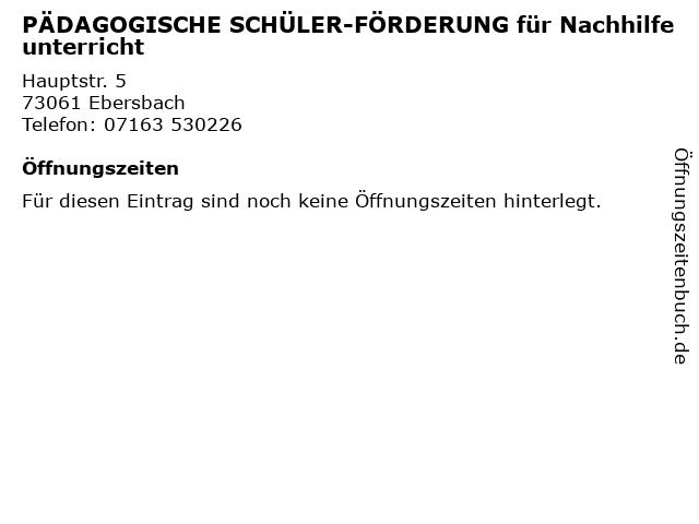 PÄDAGOGISCHE SCHÜLER-FÖRDERUNG für Nachhilfeunterricht in Ebersbach: Adresse und Öffnungszeiten