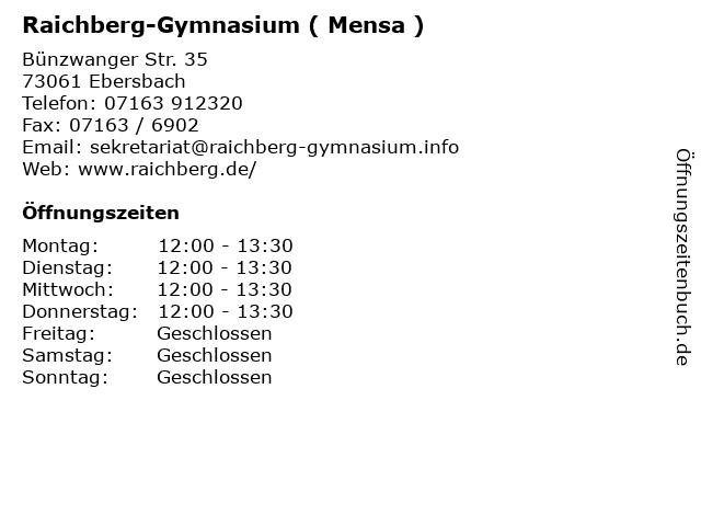 Raichberg-Gymnasium ( Mensa ) in Ebersbach: Adresse und Öffnungszeiten