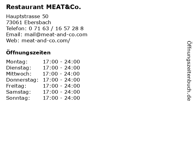 Restaurant MEAT&Co. in Ebersbach: Adresse und Öffnungszeiten