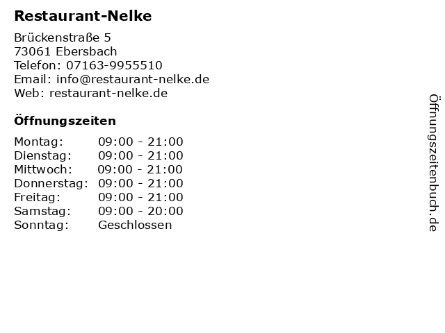 Restaurant-Nelke in Ebersbach: Adresse und Öffnungszeiten