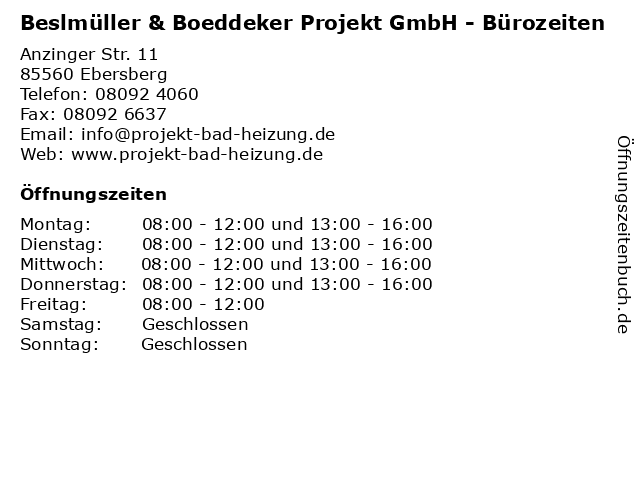 Beslmüller & Boeddeker Projekt GmbH - Bürozeiten in Ebersberg: Adresse und Öffnungszeiten